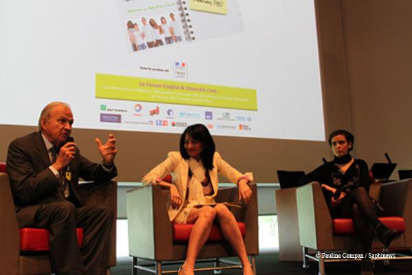 Claude Bébéar, Jeannette Bougrab et Sonia Hamoudi (de l'IMS)