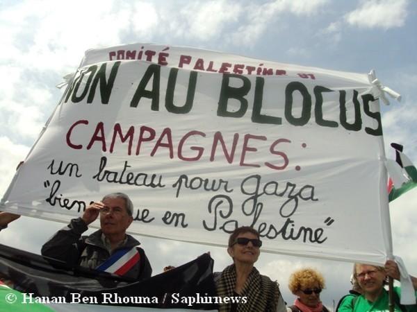 Plusieurs centaines de personnes se sont réunies au Vieux Port de Marseille en soutien à la campagne du bateau français pour Gaza, qui part de Grèce vers le 25 juin.