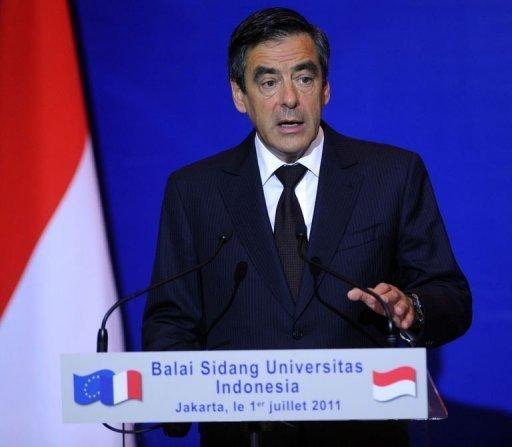 François Fillon lors de son discours à l'Universitas Indonesia à Jakarta