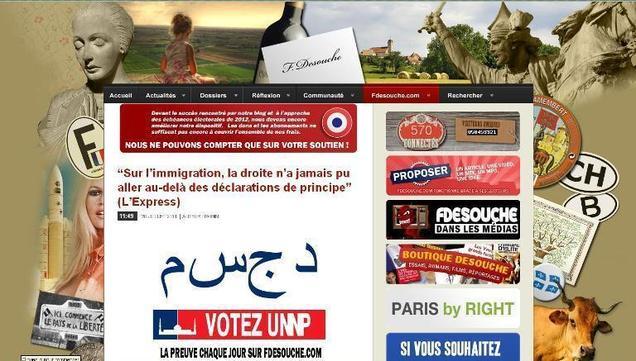 Copie d'écran du site fdesouche.com le 20/07/2011.