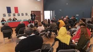 Au meeting de lancement de l'UDMF à Vaulx-en-Velin, le 2 mars 2019.