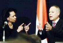 Condoleezza Rice et Ahmed Aboul Gheit, ministre égyptien des Affaires étrangères.