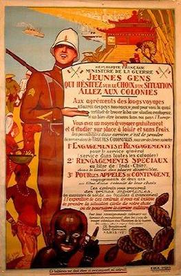 Affiche de propagande pour recruter des volontaires indigènes par le ministère français de la guerre