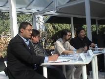 De gauche à droite : Mourad Ghazli, Akli Mellouli, Samir Dangui (vice président national de l'EMF) et Mouloud Aounit.
