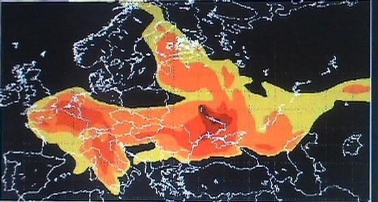 Concentration du césium 137 dans l'air au dessus du sol, le 2 mai 1986 à 3h15