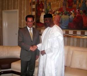 Nicolas Sarkozy et Amadou Toumani Touré, président du Mali