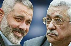 Ismael Hanya, premier ministre, et Mahmoud Abbas président de l'autorité palestinienne