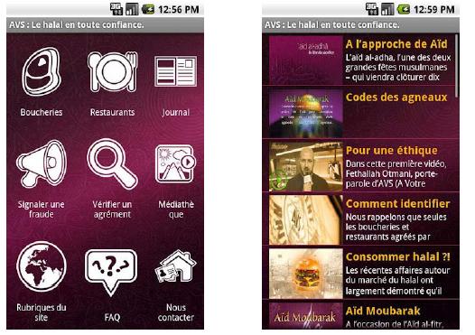 Lancement de l'appli Android AVS