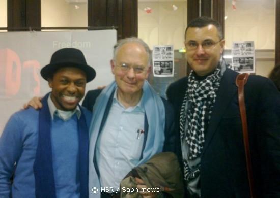 Omar Barghouti (à droite), Ivar Ekeland (au centre) et Mbuyiseni Ndlozi ont dénoncé la censure des présidences d'universités françaises contre les débats critiquant Israël.