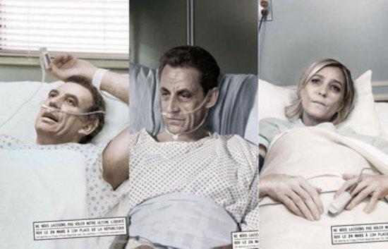 François Bayrou, Nicolas Sarkozy et Marine Le Pen mis en scène depuis mars dans des affiches destinées à promouvoir l'euthanasie en France.