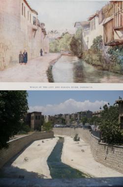 Le fleuve Barada dans une illustration de 1868 (au-dessus) et en 2008 (en dessous)