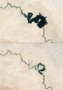 L'Euphrate en 2006 (au-dessus) et en 2009 (en dessous) © NASA
