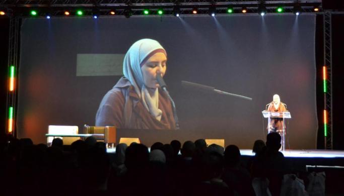 Lecture de la Déclaration commune à la tribune par Hafida Hammouti, au 1er Forum de la Foire musulmane de Bruxelles