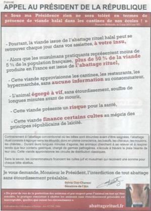 Publicité dans Le Parisien contre l'abattage rituel