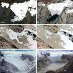 Avancée de la fonte des glaciers Pastoruri (a), Shullcón (b) et Qori Kalis (c) au Pérou. © Jesús Gomez