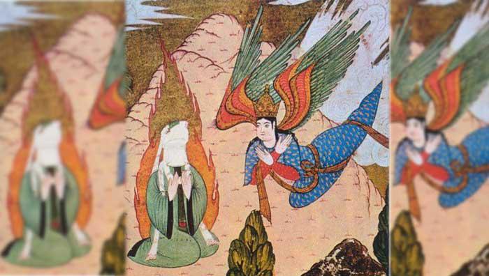 Le Prophète Muhammad recevant la Révélation par l'entremise de l'ange Gabriel sur le mon Hira. (Miniature Turque du XVIe siècle, musée de Topkapi, Istanbul, Turquie)