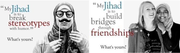 La campagne « My Jihad » (« Mon Jihad ») lancée aux Etats-Unis dès le 14 décembre pour contrer les préjugés sur l'islam et ses concepts, dont celui de jihad. Ici: « Mon jihad est de briser les stéréotypes à travers l'humour. » « Mon jihad est de créer des ponts à travers les amitiés. Quelle est le vôtre ? »