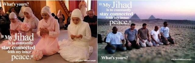 Autres affiches : « Mon jihad est de rester constamment connecté avec ma paix intérieur. Quel est le vôtre ? »