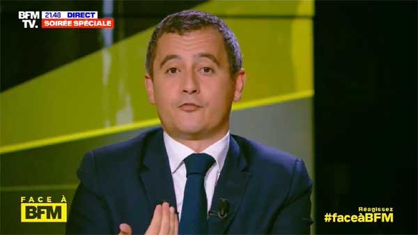 Ici, le ministre de l'Intérieur, Gérald Darmanin. © Capture d'écran BFM TV