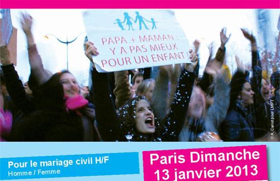 """Extrait du tract appelant à la """"Manif pour tous"""" du 13 janvier 2013, s'élevant contre le projet de loi de """"mariage pour tous""""."""
