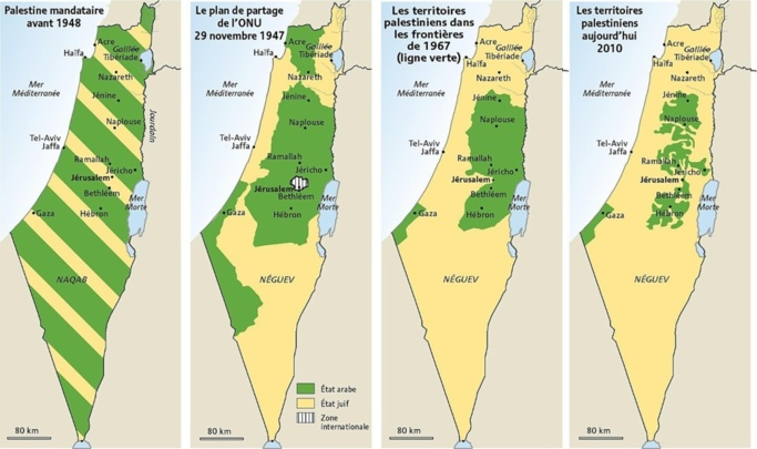 Peu de géographie dans les manuels scolaires... : 4 % des cartes dans les manuels palestiniens font figurer un État appelé « Israël » ; 13 % des manuels scolaires israéliens mentionnent les « Territoires palestiniens ».
