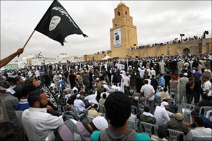 Rassemblement annuel du mouvement jihadiste Ansâr ash-Sharî'a, à Kairouan.