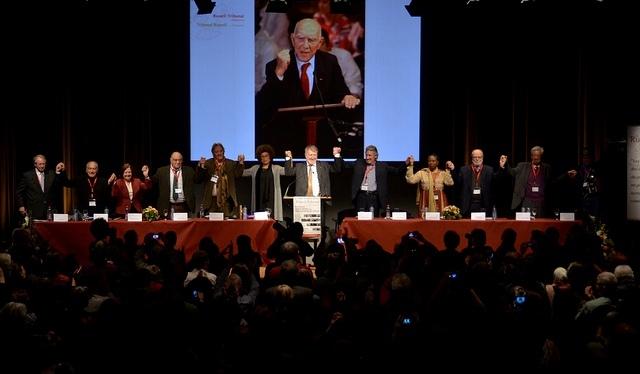 La quatrième et dernière session du Tribunal Russell sur la Palestine à Bruxelles les 16 et 17 mars. Un hommage à Stéphane Hessel a été rendu. ©TRP