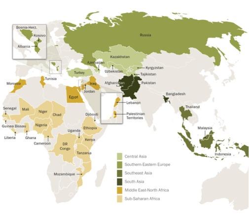 Une vaste étude de l'institut de recherche Pew,  publiée le 30 avril, a été réalisée auprès de 38 000 personnes dans 39 pays représentés dans cette carte.
