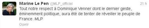 Tweet de Marine Le Pen après le suicide de Dominique Venner.