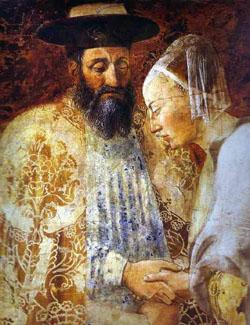 """Salomon et la reine de Saba, """"La Légende de la Vraie Croix"""", par Piero della Francesca, v. 1460"""