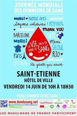 Affiche de la Grande Mosquée de Saint-Etienne sur la collecte prévue pour la journée mondiale du donneur du sang.