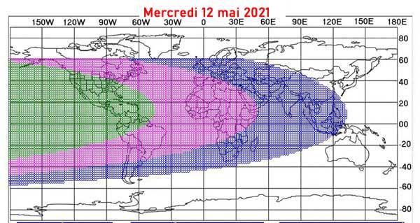 La carte de visibilité du croissant lunaire en date du mercredi 12 mai 2021 afin de déterminer le début du mois de Chawwal 1442/2021. © ICOP