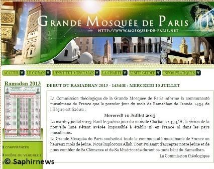 Capture d'écran sur le site de la Grande Mosquée de Paris, mardi 9 juillet.