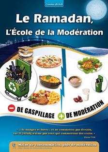 « Moins de consommation, plus de modération » est l'invitation de l'Union française des consommateurs musulmans lancée à travers ce tract, distribué pendant le Ramadan 2012.