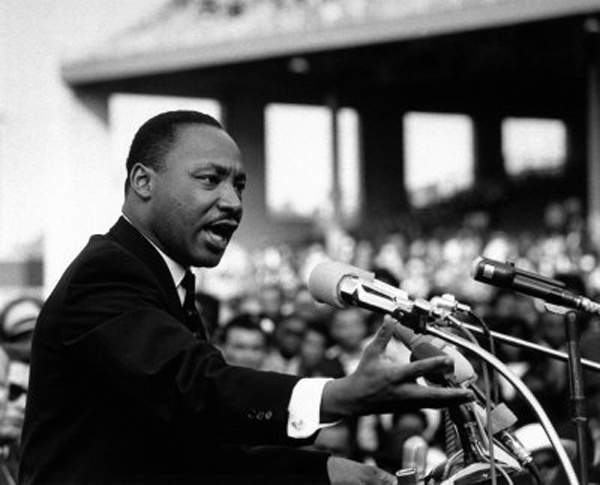 Martin Luther King lors de la prononciation de son discours  « I have a dream »  à Washington, le 28 août 1963.