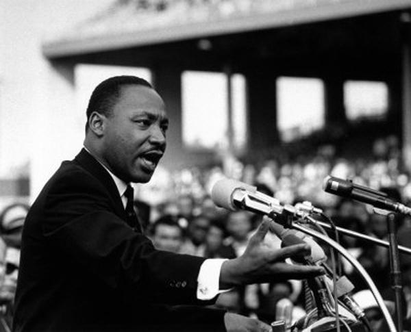 Martin Luther King lors de la prononciation de son discours  «I have a dream»  à Washington, le 28 août 1963.