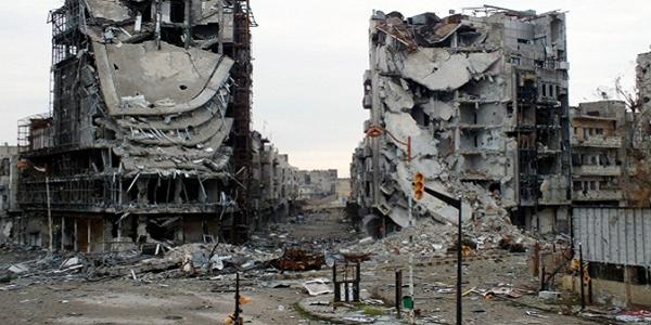 Des dégats causés par des bombardements près de Damas en Syrie.