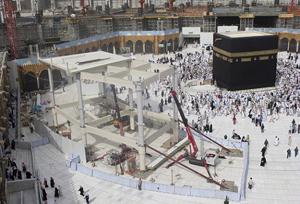La Grande Mosquée (Masjid al-Haram) en travaux.