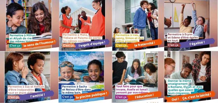 Quand la campagne gouvernementale de promotion de la laïcité à l'école  est détournée. © E-Laïcité / Montage Saphirnews.com