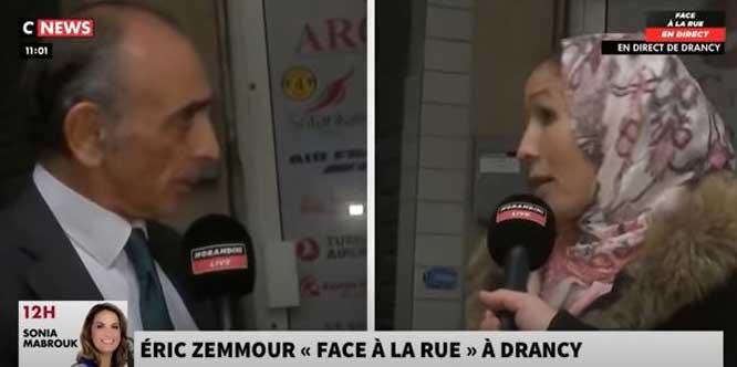 Voile vs cravate, l'échange hallucinant entre une femme musulmane et Eric Zemmour à Drancy (vidéo)