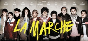 L'affiche du film La Marche de Nabil Ben Yadir avec Jamel Debbouze, Charlotte Le Bon et Hafsia Herzi, qui sortira le 27 novembre au cinéma.