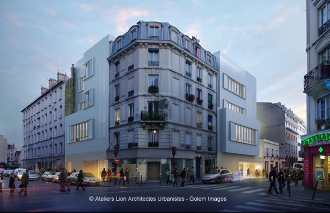 Le nouveau bâtiment ICI-Goutte-d'Or de l'Institut des cultures d'islam se trouve au croisement de la rue Doudeauville et de la rue Stephenson, à Paris 18e.