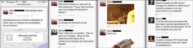 Capture d'écran du profil Facebook de la patiente islamophobe.