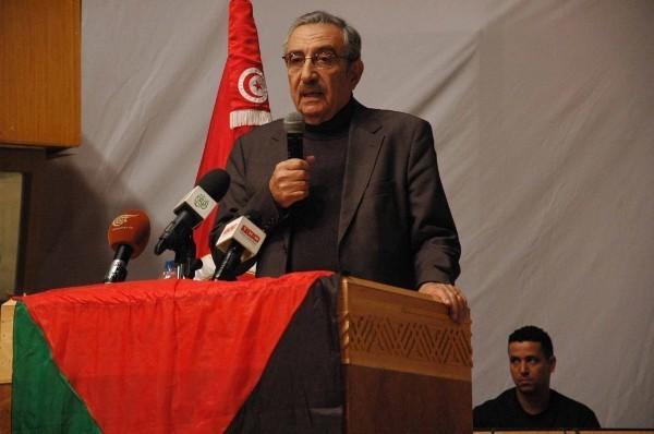L'intellectuel palestinien Mounir Chafik, ici à Tunis pour la conférence organisée par le Palestinian Youth Movement (PYM) en décembre 2012.