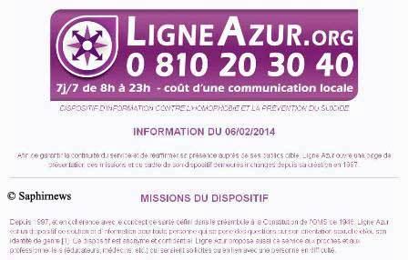 La page d'accueil provisoire de Ligne Azur. Capture d'écran dans la journée du 7 février.