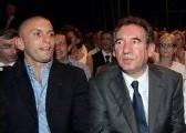 François Bayrou et l'ex-judoka Djamel Bouras hier au Zénith de Paris