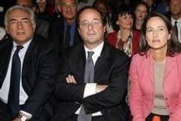 Dominique Strauss-Kahn, François Hollande et Ségolène Royal hier au Zénith de Paris