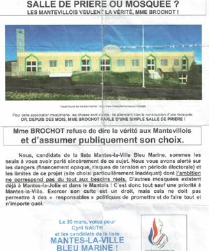 Tract de la liste Mantes-la-Ville Bleu Marine.
