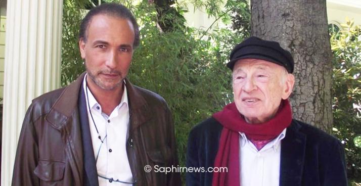 Tariq Ramadan et Edgar Morin, auteurs du livre « Au péril des idées » (Presses du Châtelet), sorti en mars 2014.