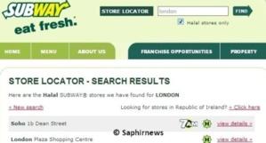 Capture d'écran du site de Subway concernant ses points de vente estampillés halal.